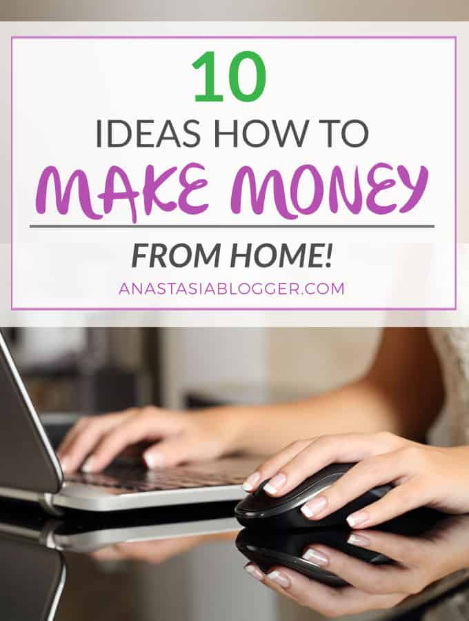 10 ideas how to make money from home - make money fast, make money online, make money ideas, make money blogging, as a virtuall assistant, via paid online surveys, earn money online