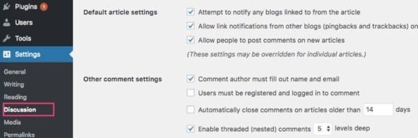Discussion or comments settings for a new blog