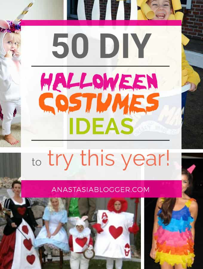 DIY Halloween Costumes Ideas to try this year! Family Halloween costumes, food costumes, DIY ideas for couples, simple Halloween costumes for women, kids. Explore these DIY costumes and Halloween Ideas for 2017!