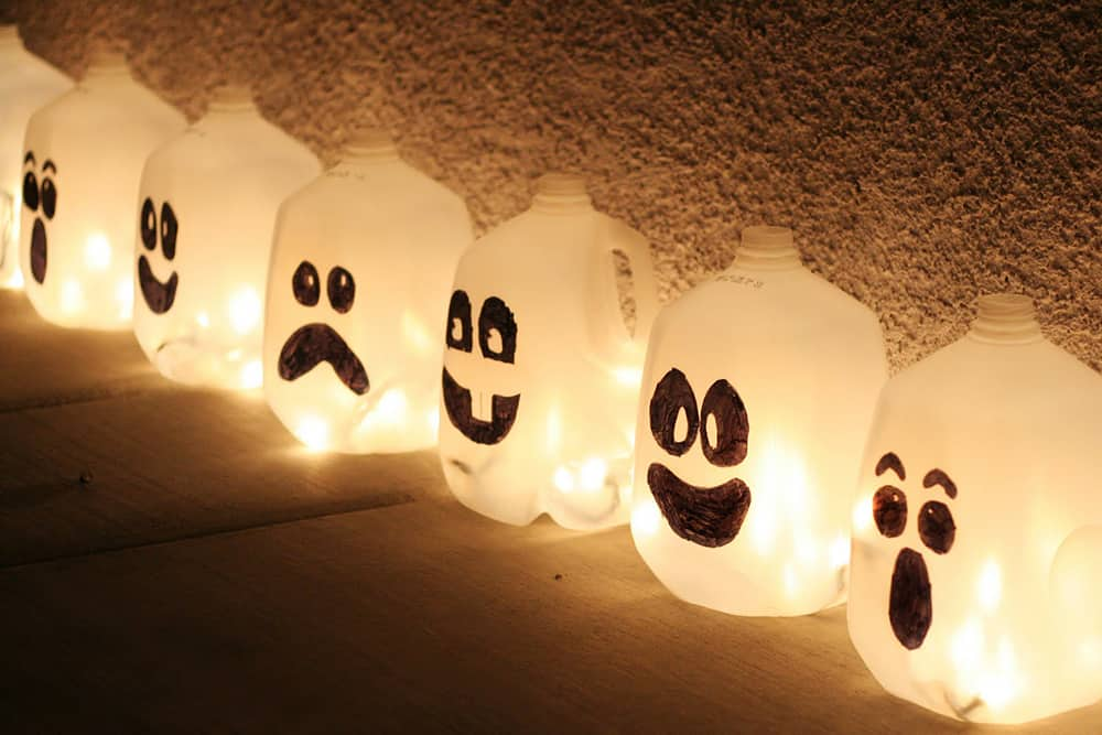 Halloween Spirits made of Milk Jugs - Halloween Outdoor Decorations