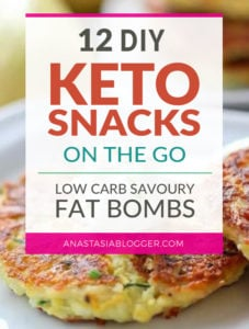 Here are hand-picked simple 12 DIY Keto Snacks On the Go for keeping you Ketogenic diet all the day and even while traveling. These low carb savoury fat bombs and treats will fill you up and help you lose weight. Take these home-made Keto snacks to work or a trip – they are easy to keep and heat up. #keto #ketogenic #ketorecipes #ketogenicdiet #ketodiet