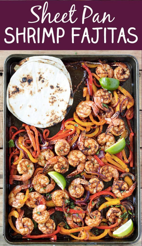 One Sheet Pan Shrimp Fajitas - 8 easy healthy dinner recipes for weight loss – make clean eating a habit! I gathered recipes, which can be cooked in under 30 min – healthy dinner chicken recipes, salads, crock pot recipes. You can adopt these easy healthy dinner recipes for two or for family. #recipe #weightlossrecipes #dinner