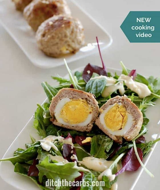 Scotch Eggs - Here are hand-picked simple 12 DIY Keto Snacks On the Go for keeping you Ketogenic diet all the day and even while traveling. These low carb savoury fat bombs and treats will fill you up and help you lose weight. Take these home-made Keto snacks to work or a trip – they are easy to keep and heat up. #keto #ketogenic #ketorecipes #ketogenicdiet #ketodiet