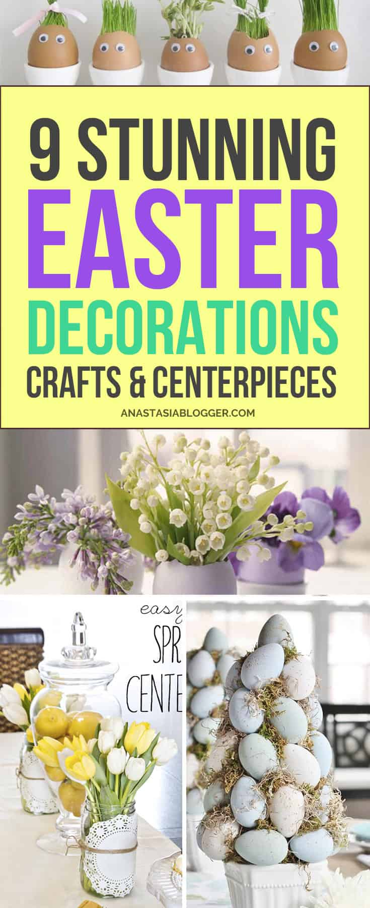 9 Easter Decorations DIY – try to do these Easter Crafts and Centerpieces in 2018! Easter ideas for a beautiful table - make these crafts with your kids! Dollar store DIY projects, Easter egg wreath, rustic, vintage and elegant - all kinds of decorations for the home.