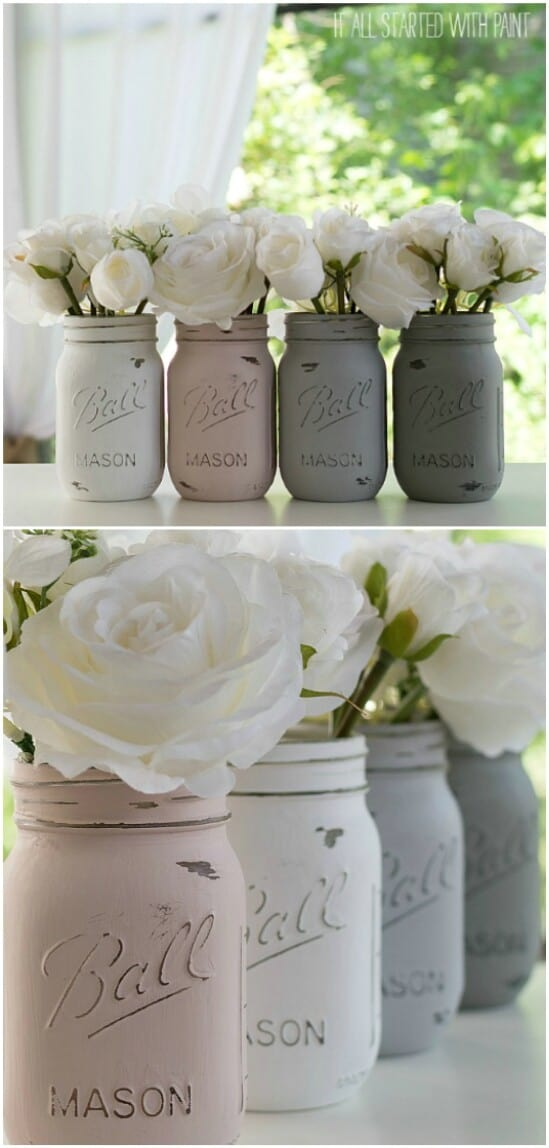 Painted Mason Jars - DIY farmhouse decor ideas are very trendy these days if you watch some home renovation TV shows you probably know that it's in high demand now. Check this farmhouse decor on a budget for the living room, bedroom, country kitchen, bathroom and other parts of your rustic home.
