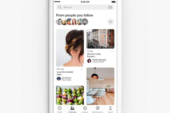 Pinterest update 2018 - following tab