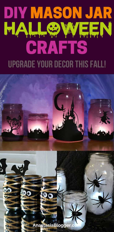 Get these creative Halloween mason jar crafts easy DIY ideas for home decor. Cheap DIY Halloween decorations for your house #halloween #crafts