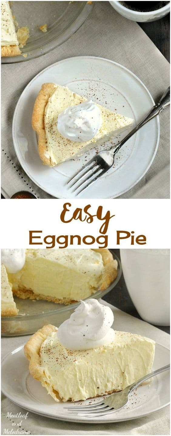 Eggnog Pie - Best Christmas Desserts - Recipes and Christmas Treats to Try this Year! Try these amazing and cute easy Christmas dessert recipes to have a great party for your kids, friends, and family! Cupcakes, cakes, sweet bites, pies, brownies, home-made Christmas popcorn, Christmas cookies and other delights. #christmas #dessertfoodrecipes #xmas #recipes #food #christmasfood