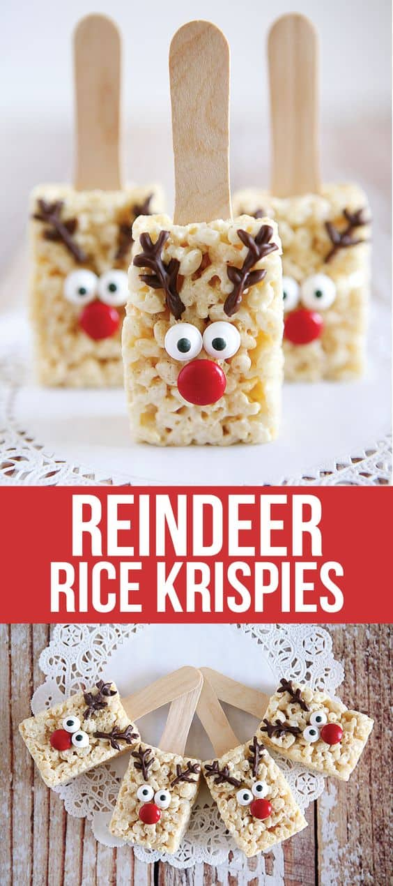Reindeer Rice Krispies Recipe - Best Christmas Desserts - Recipes and Christmas Treats to Try this Year! Try these amazing and cute easy Christmas dessert recipes to have a great party for your kids, friends, and family! Cupcakes, cakes, sweet bites, pies, brownies, home-made Christmas popcorn, Christmas cookies and other delights. #christmas #dessertfoodrecipes #xmas #recipes #food #christmasfood