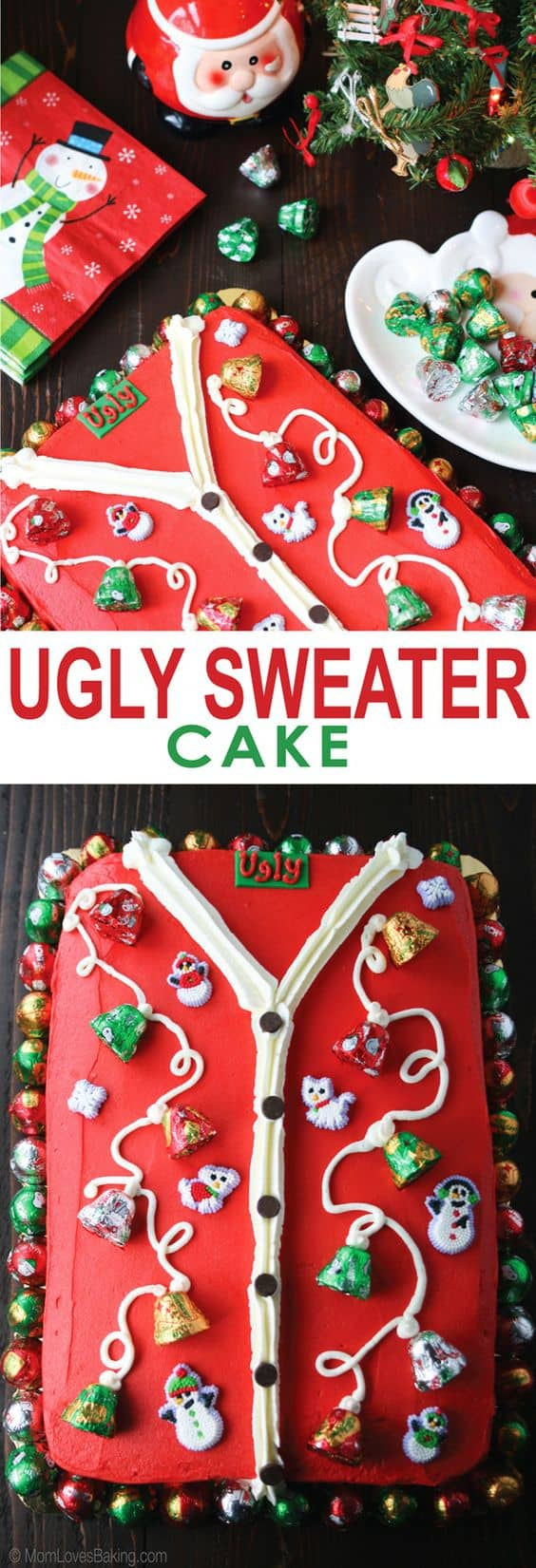 Ugly Sweater Cake - Best Christmas Desserts - Recipes and Christmas Treats to Try this Year! Try these amazing and cute easy Christmas dessert recipes to have a great party for your kids, friends, and family! Cupcakes, cakes, sweet bites, pies, brownies, home-made Christmas popcorn, Christmas cookies and other delights. #christmas #dessertfoodrecipes #xmas #recipes #food #christmasfood