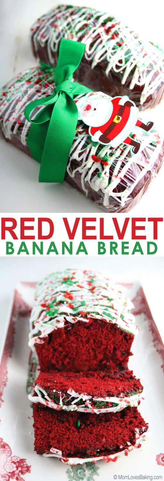 Red Velvet Banana Bread - Best Christmas Desserts - Recipes and Christmas Treats to Try this Year! Try these amazing and cute easy Christmas dessert recipes to have a great party for your kids, friends, and family! Cupcakes, cakes, sweet bites, pies, brownies, home-made Christmas popcorn, Christmas cookies and other delights. #christmas #dessertfoodrecipes #xmas #recipes #food #christmasfood