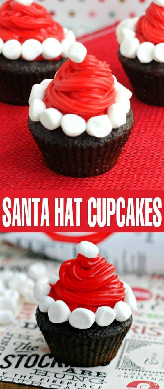 Santa Hat Cupcakes - Best Christmas Desserts - Recipes and Christmas Treats to Try this Year! Try these amazing and cute easy Christmas dessert recipes to have a great party for your kids, friends, and family! Cupcakes, cakes, sweet bites, pies, brownies, home-made Christmas popcorn, Christmas cookies and other delights. #christmas #dessertfoodrecipes #xmas #recipes #food #christmasfood
