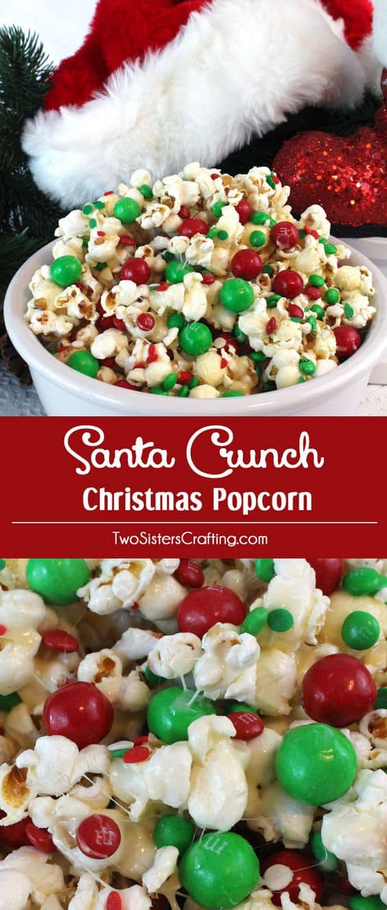 Santa Crunch Popcorn - Best Christmas Desserts - Recipes and Christmas Treats to Try this Year! Try these amazing and cute easy Christmas dessert recipes to have a great party for your kids, friends, and family! Cupcakes, cakes, sweet bites, pies, brownies, home-made Christmas popcorn, Christmas cookies and other delights. #christmas #dessertfoodrecipes #xmas #recipes #food #christmasfood