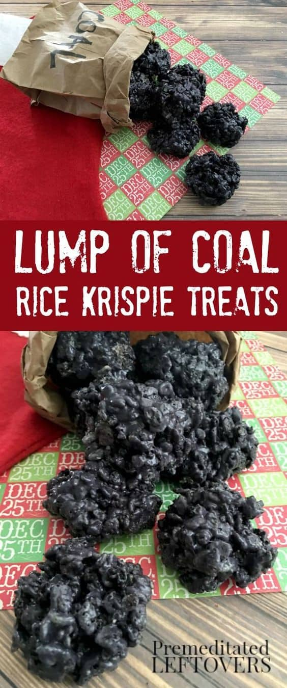 Lump Of Coal Rice Krispie Treats - Best Christmas Desserts - Recipes and Christmas Treats to Try this Year! Try these amazing and cute easy Christmas dessert recipes to have a great party for your kids, friends, and family! Cupcakes, cakes, sweet bites, pies, brownies, home-made Christmas popcorn, Christmas cookies and other delights. #christmas #dessertfoodrecipes #xmas #recipes #food #christmasfood