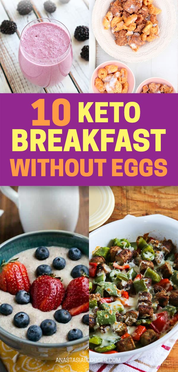 Keto Breakfast No Eggs - [10] Best Easy and Quick Egg-Free Keto Recipes. Eggs in many different ways are a great breakfast on a Keto diet. But what if you already tried them in every possible way and want to diversify your low-carb breakfast options? This collection of Keto breakfast no eggs recipes will give you lots of ideas to experiment! #keto #ketodiet #ketorecipes #breakfast #lowcarb #diet #food