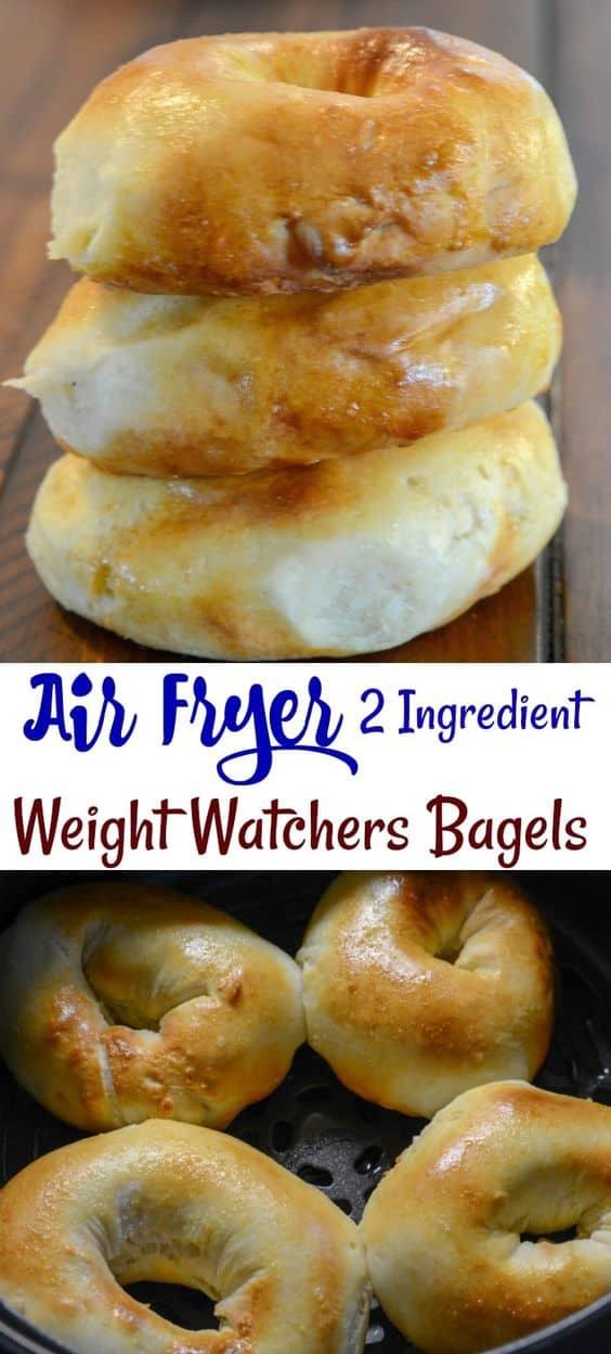 Air Fryer 2 Ingredient Weight Watchers Friendly Bagels