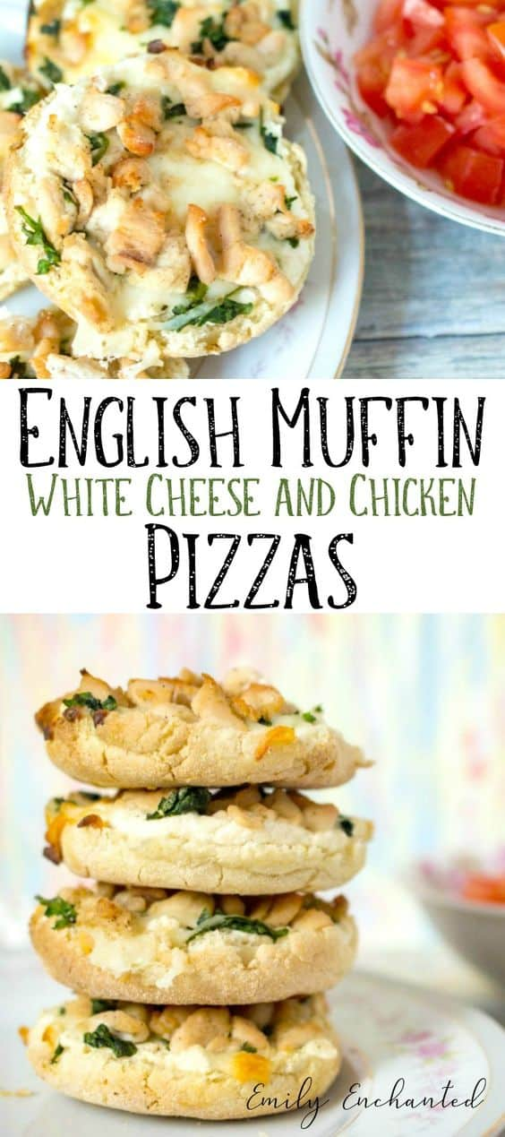 Cheesy English Muffin Pizzas with Chicken