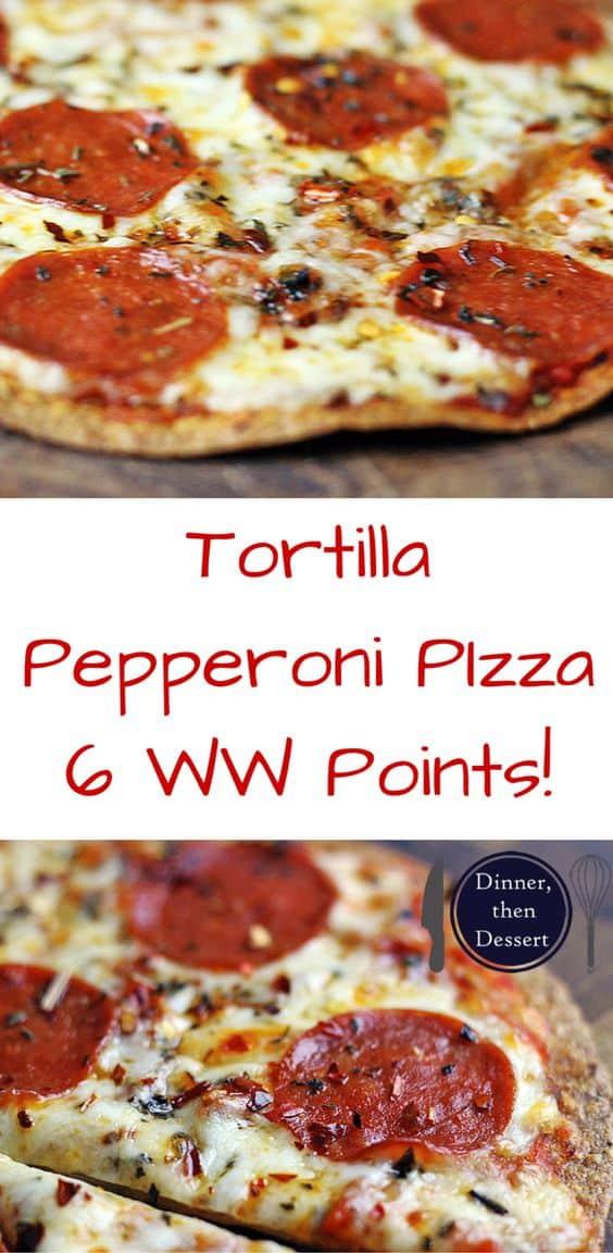 Tortilla Pepperoni Pizza