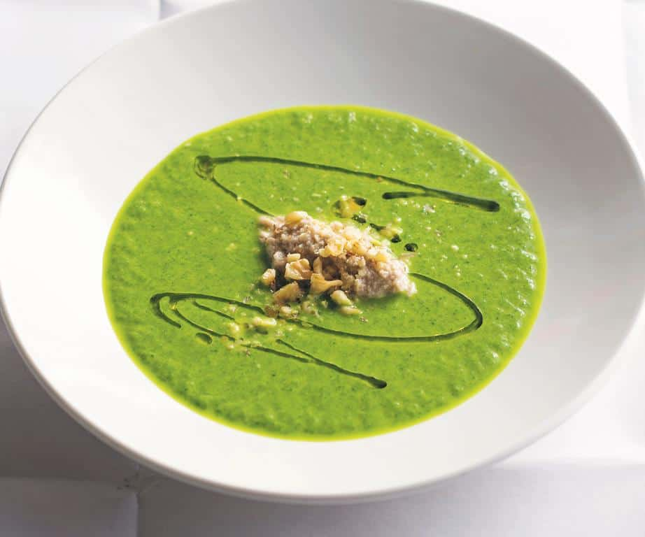 Green Garlic and Spinach Soup with Tarator