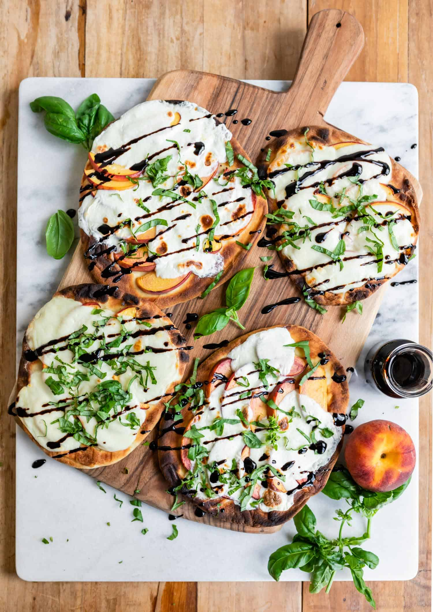 Grilled Peach Caprese Naan Pizza - The Ultimate Easy Summer Meal