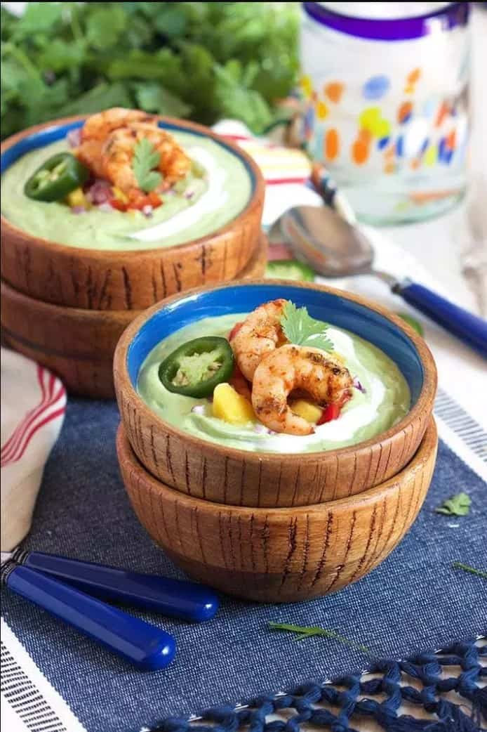 Chilled Avocado Soup with Grilled Chili Spiced Shrimp - easy summer dinner recipes