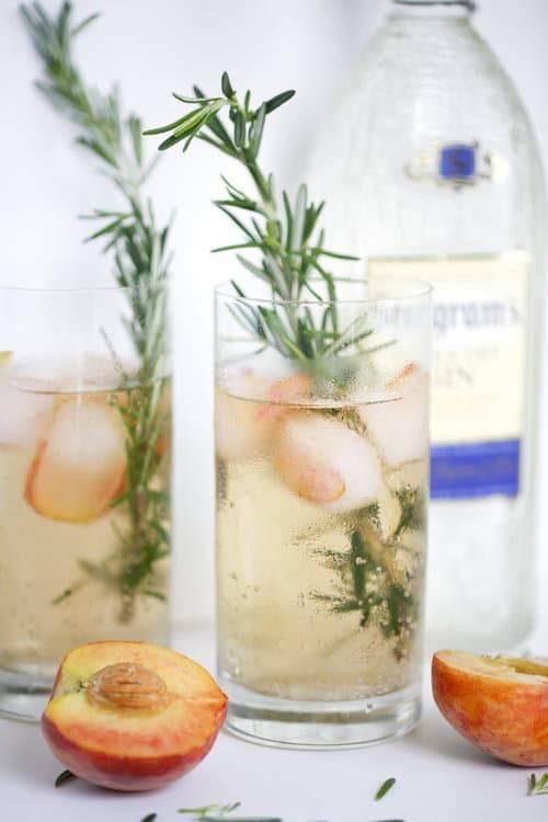 Rosemary Peach Gin Cocktail